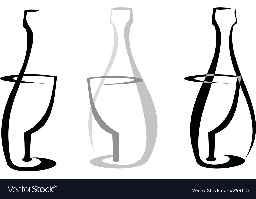 Wine bottle and glass vector | Price: 1 Credit (USD $1)