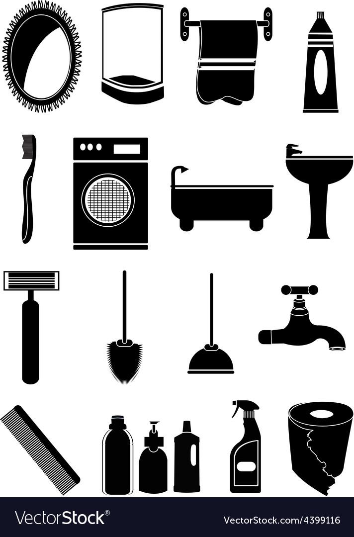 Bathroom icons set vector