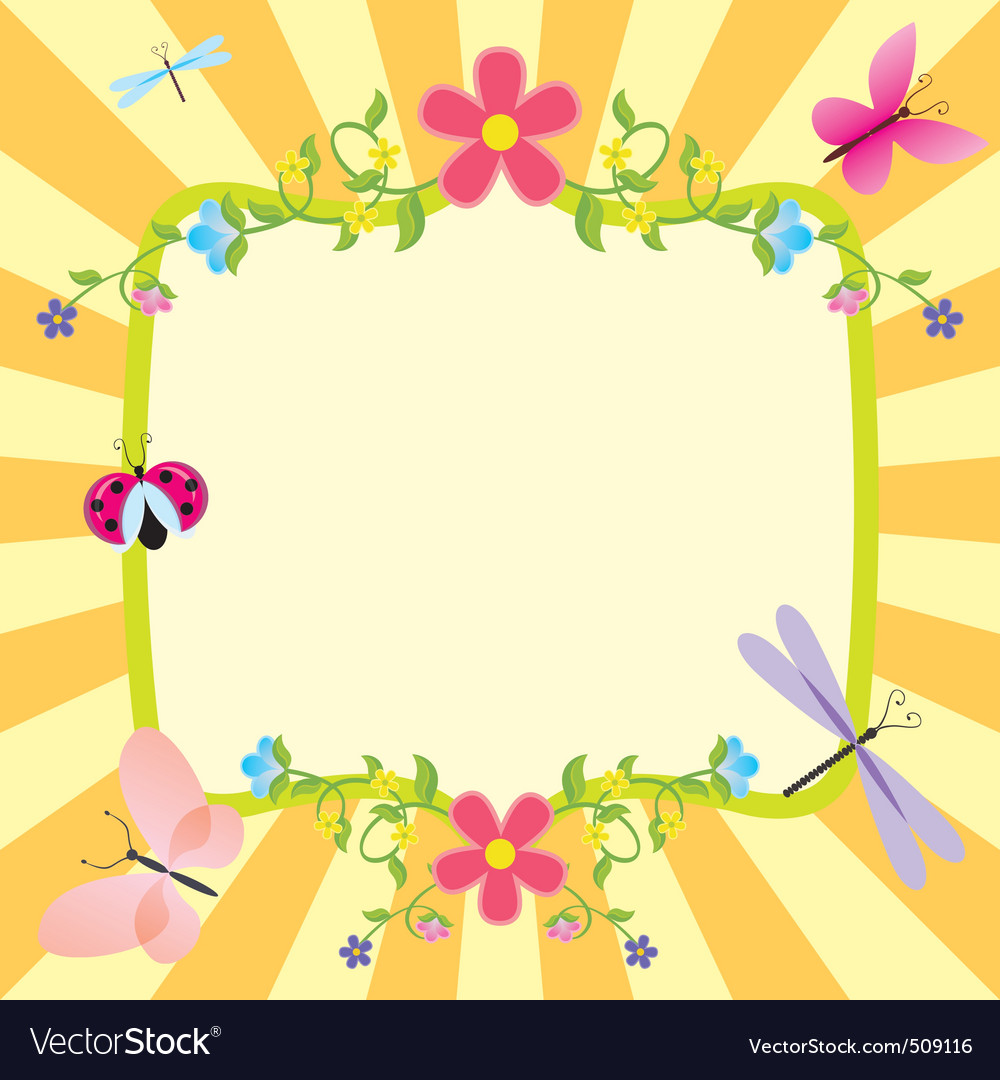 Cartoon frame summer or spring easter vector | Price: 1 Credit (USD $1)