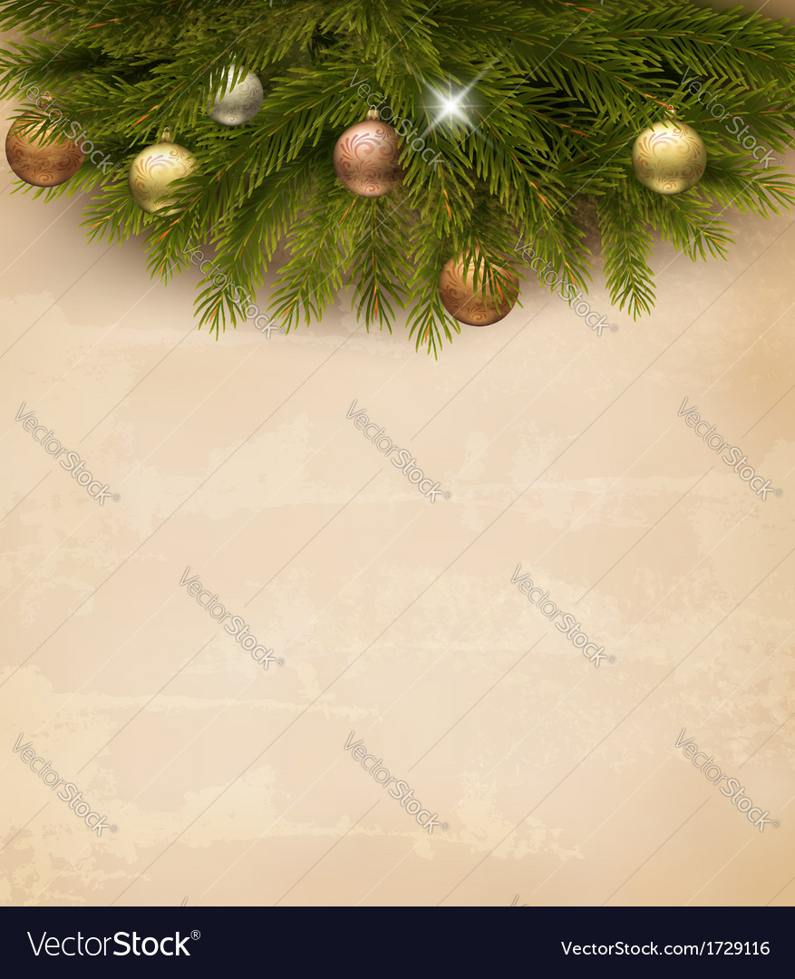 Christmas decoration on old paper background vector | Price: 1 Credit (USD $1)
