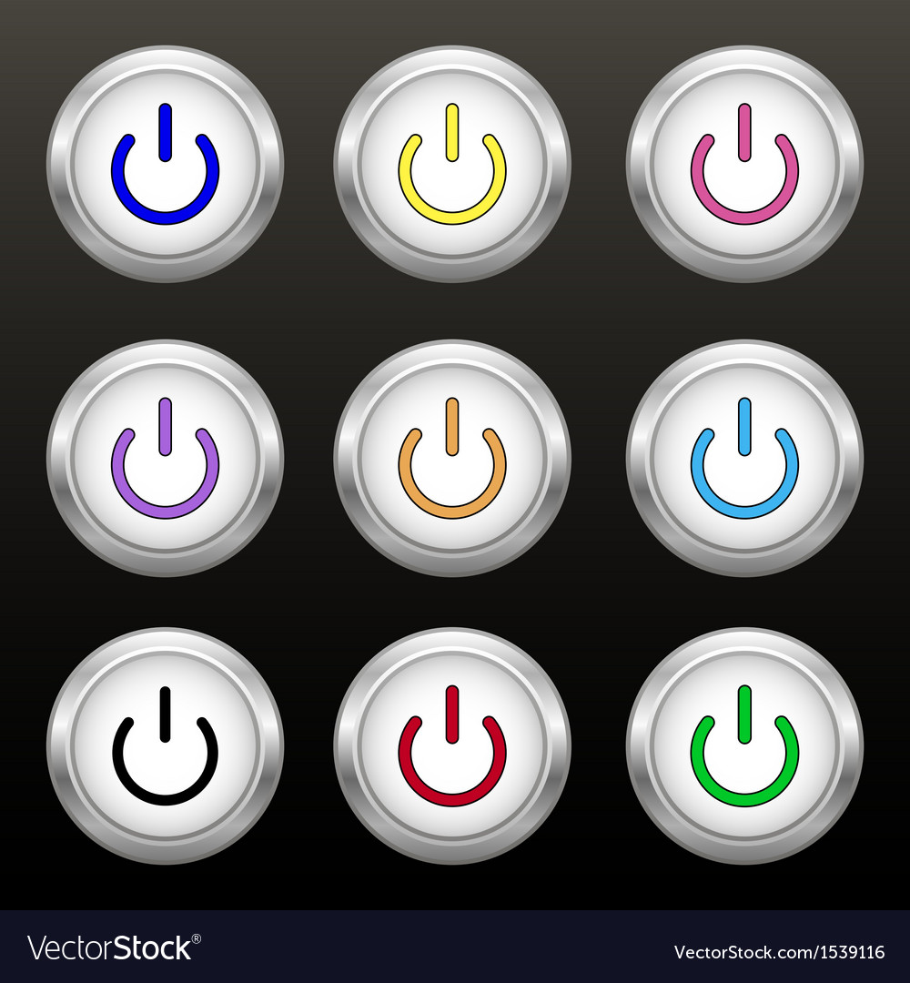 Coloured power buttons vector | Price: 1 Credit (USD $1)