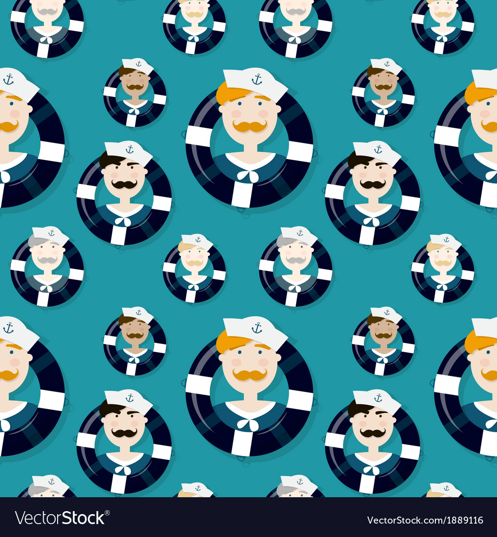 Different sailors seamless pattern in cartooning vector | Price: 1 Credit (USD $1)