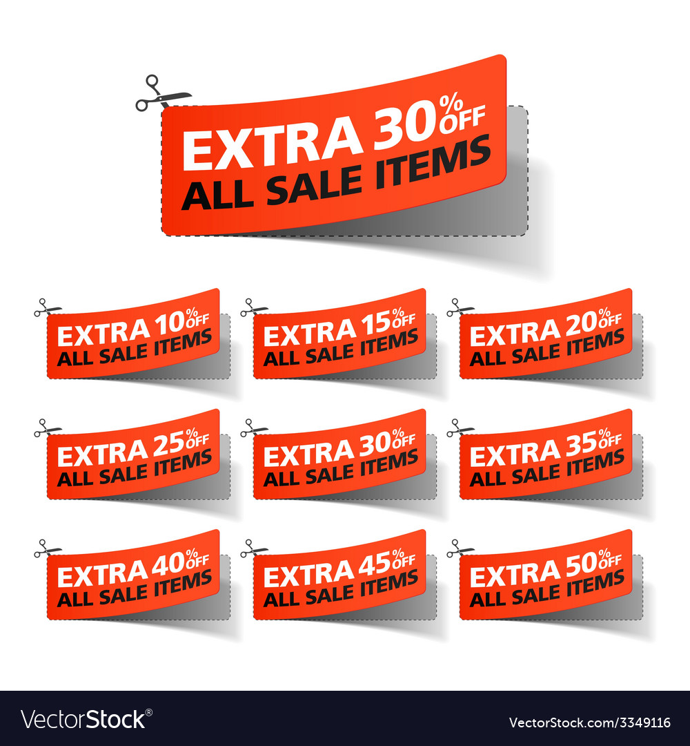 Extra sale coupons vector   Price: 1 Credit (USD $1)