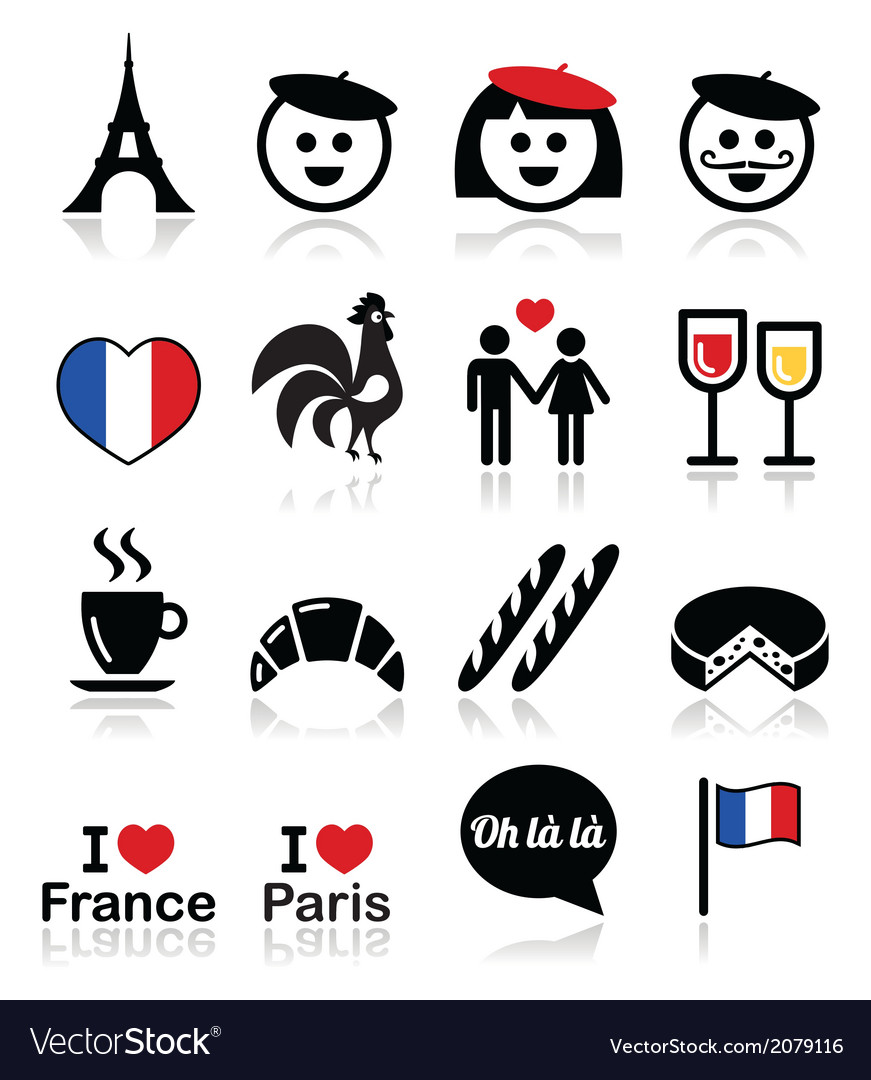 France i love paris icons set vector | Price: 1 Credit (USD $1)