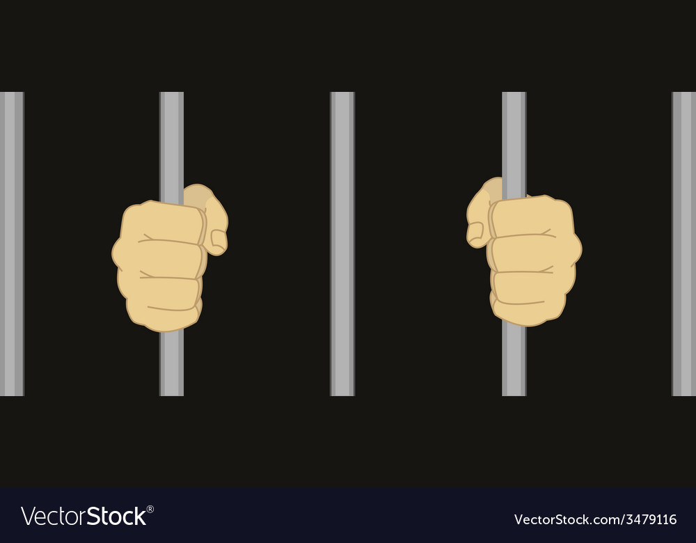 Man fists holding prison bars vector | Price: 1 Credit (USD $1)