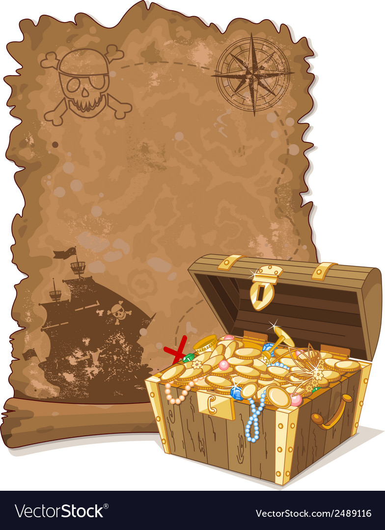 Pirate map and chest vector | Price: 3 Credit (USD $3)