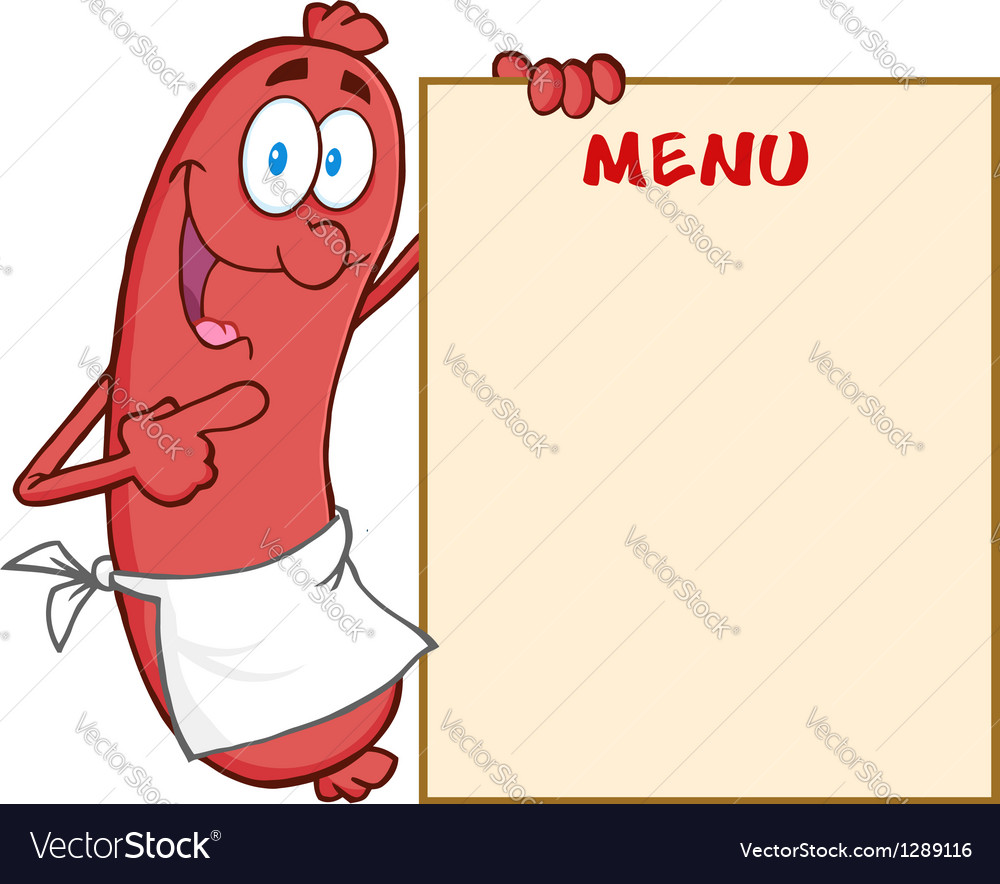 Sausage cartoon mascot character showing menu vector | Price: 1 Credit (USD $1)