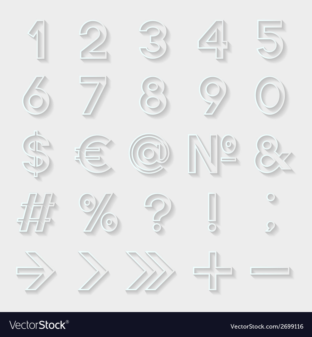 Set of decorative numbers and symbols vector | Price: 1 Credit (USD $1)