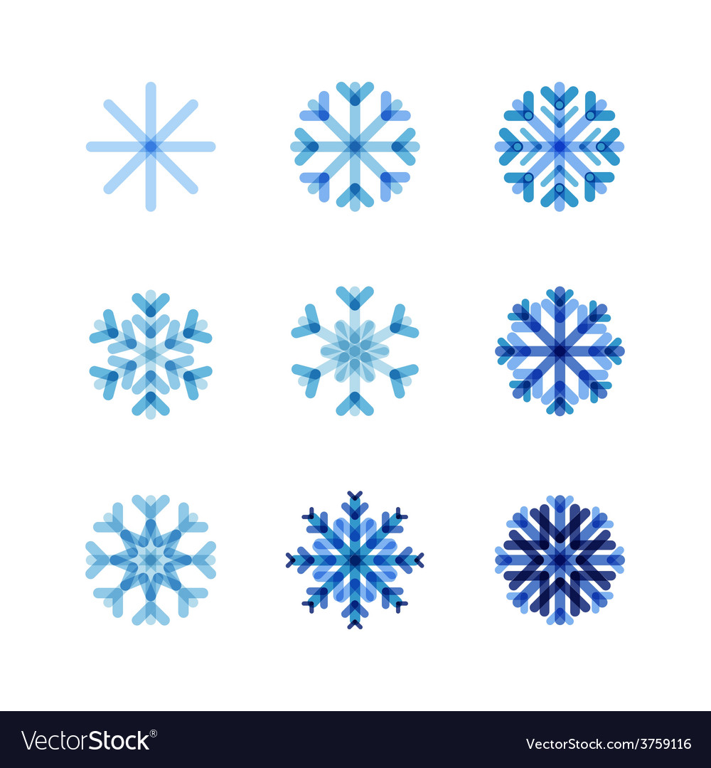Set of snowflakes of blue shades vector | Price: 1 Credit (USD $1)