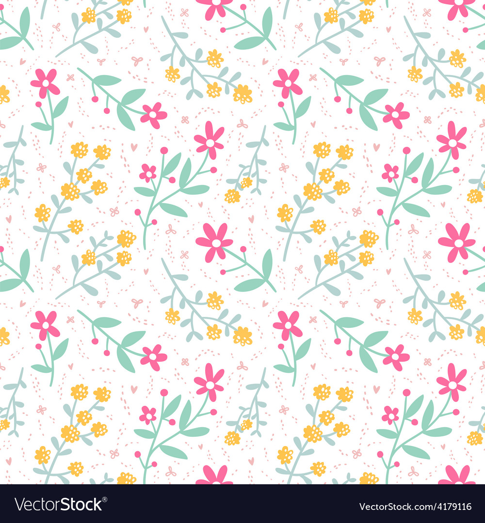 Spring mood seamless floral pattern vector | Price: 1 Credit (USD $1)