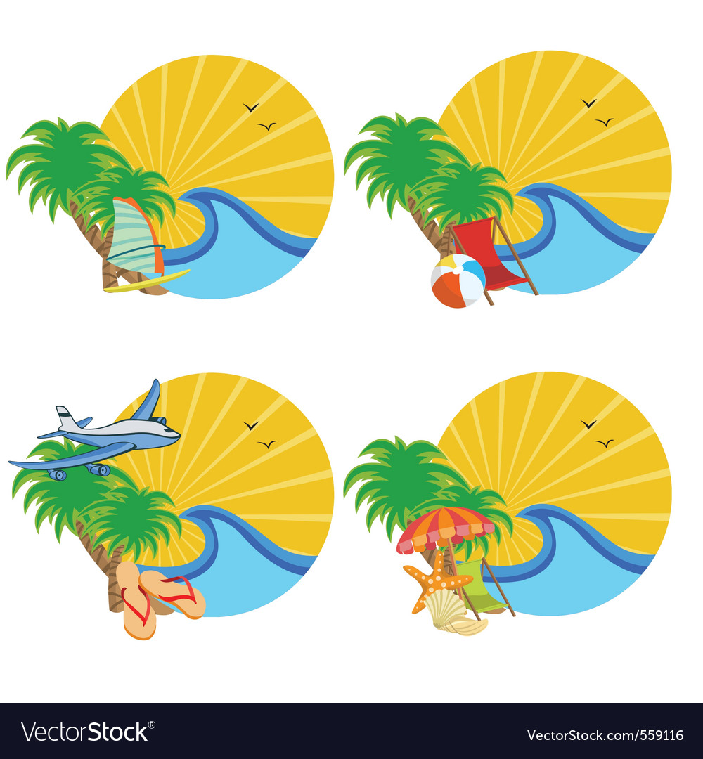 Sunrise on the tropical ocean vector | Price: 1 Credit (USD $1)
