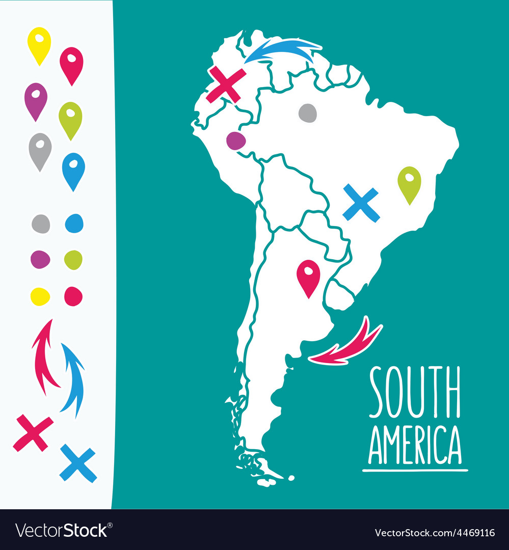 Vintage hand drawn south america travel map with vector | Price: 1 Credit (USD $1)