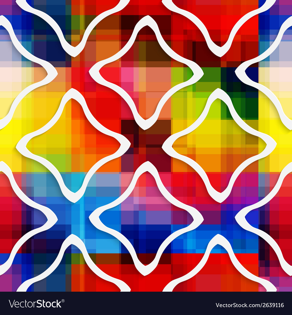 White wavy rectangles on rainbow seamless pattern vector | Price: 1 Credit (USD $1)