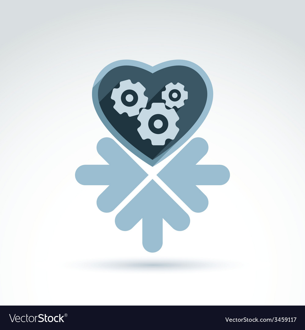 A mechanical heart love machine icon wit vector | Price: 1 Credit (USD $1)