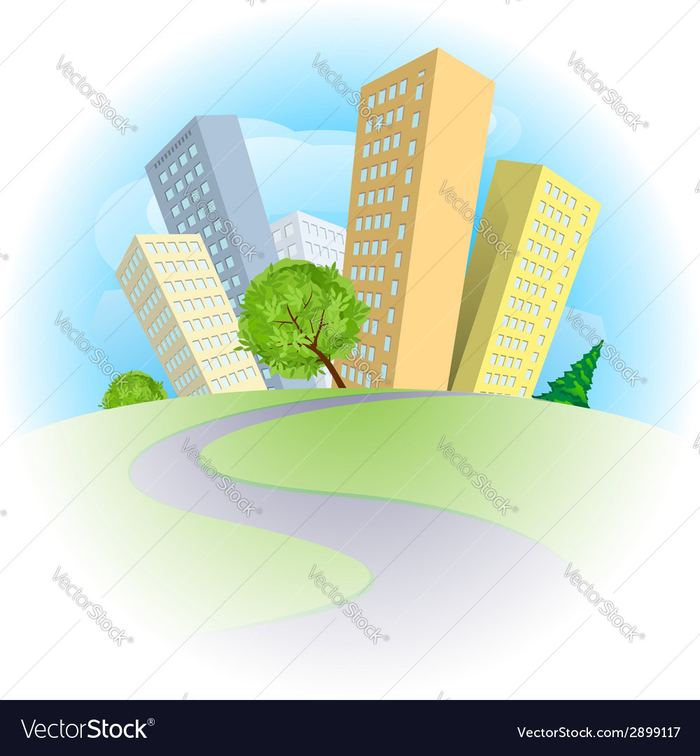 Abstract city on a green hill vector | Price: 1 Credit (USD $1)