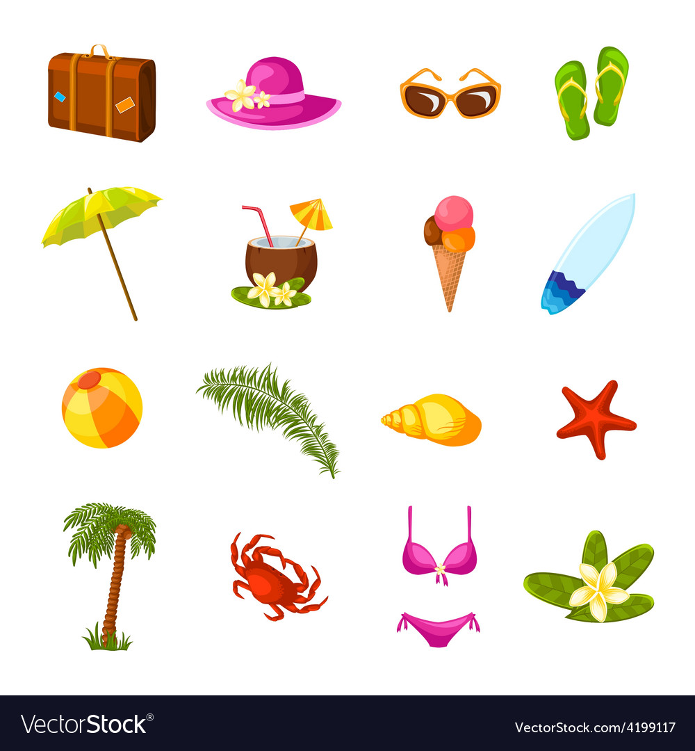 Beach multicolored icons set vector | Price: 1 Credit (USD $1)