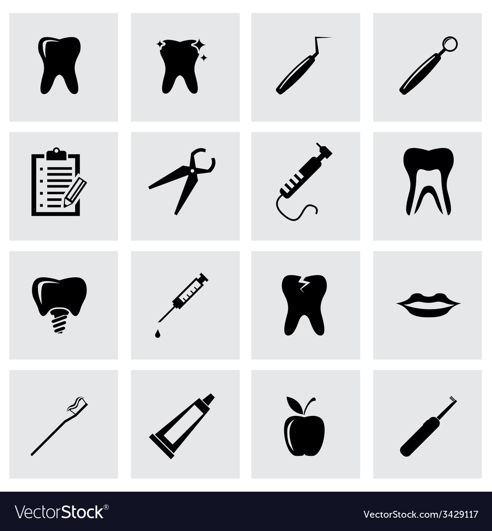 Black dental icon set vector | Price: 1 Credit (USD $1)