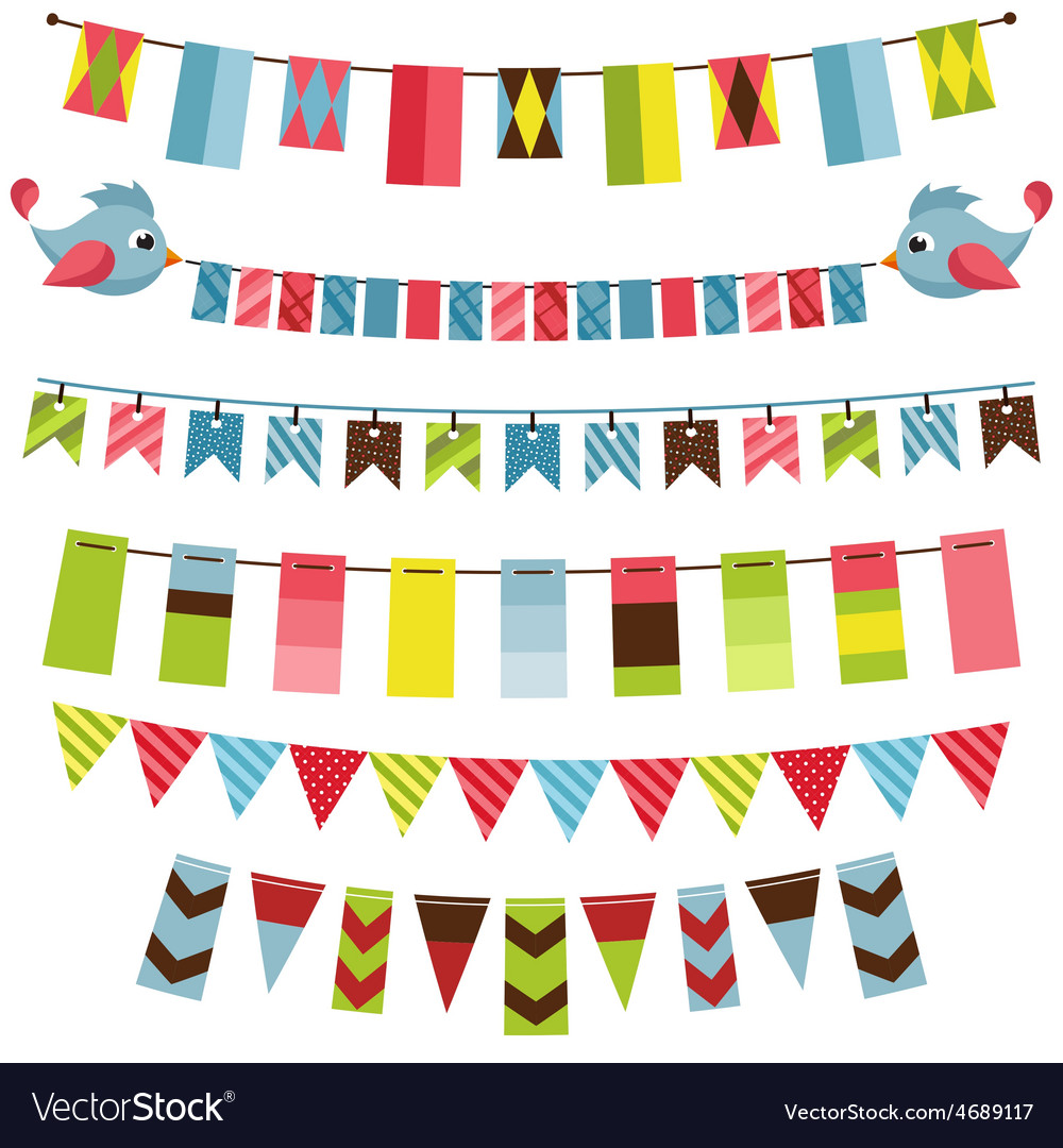 Bunting and garland set vector | Price: 1 Credit (USD $1)