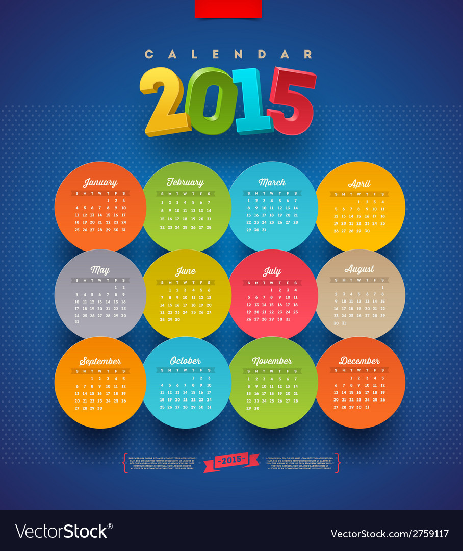 Calendar 2015 template vector | Price: 1 Credit (USD $1)