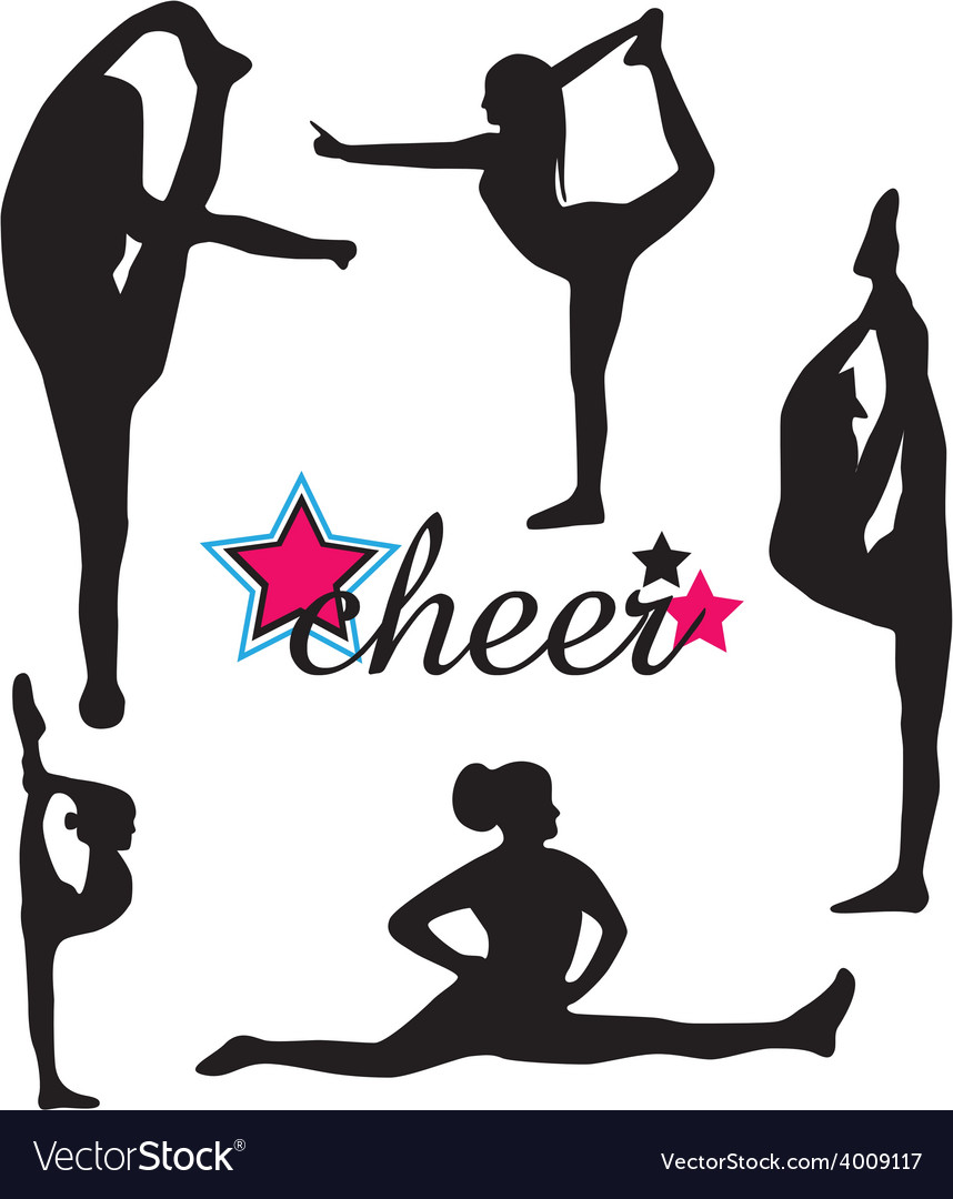 Cheerleader silhouette set vector | Price: 1 Credit (USD $1)