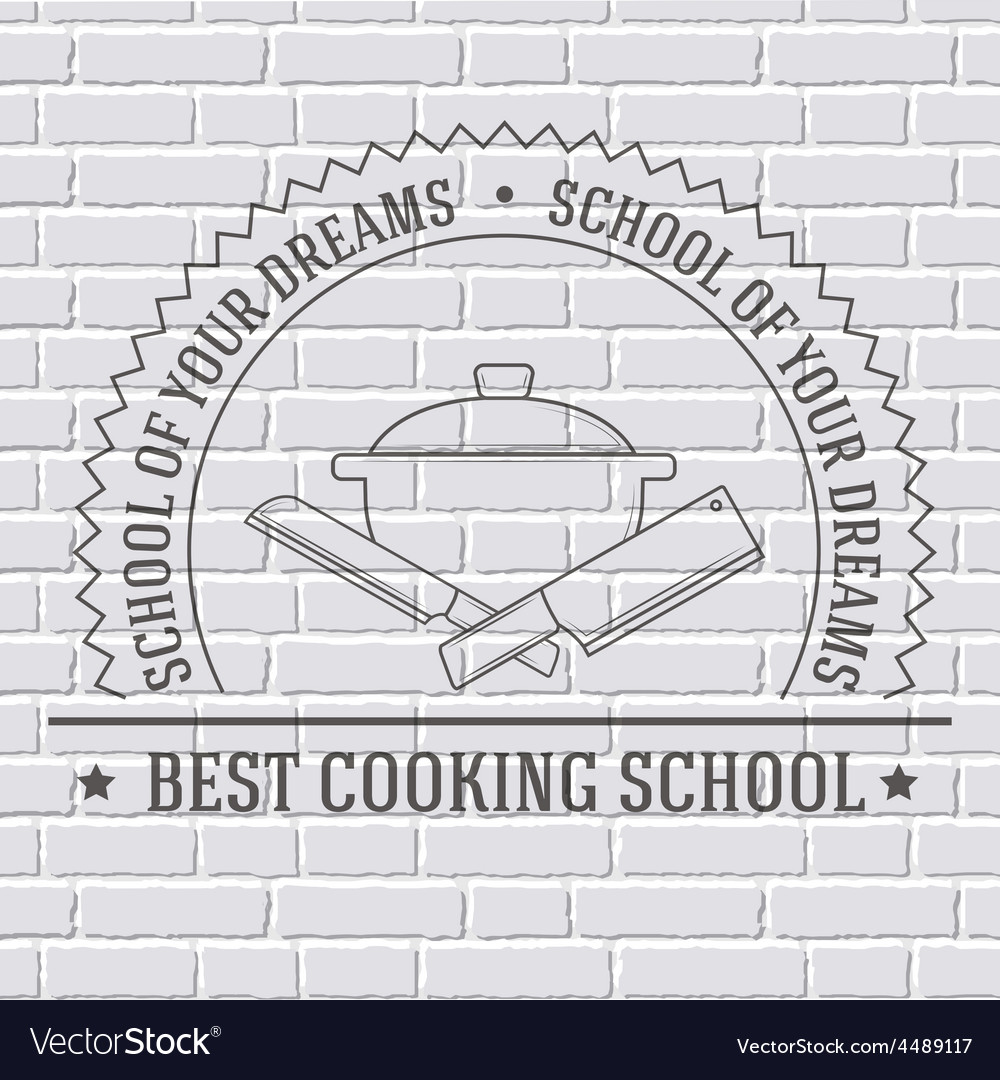 Cooking logo or template on a white brick wall vector | Price: 1 Credit (USD $1)