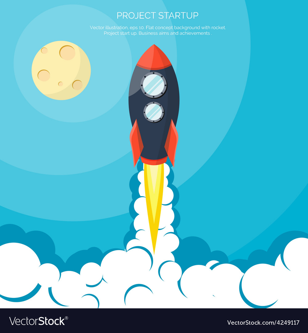 Flat rocket icon startup concept project vector   Price: 1 Credit (USD $1)