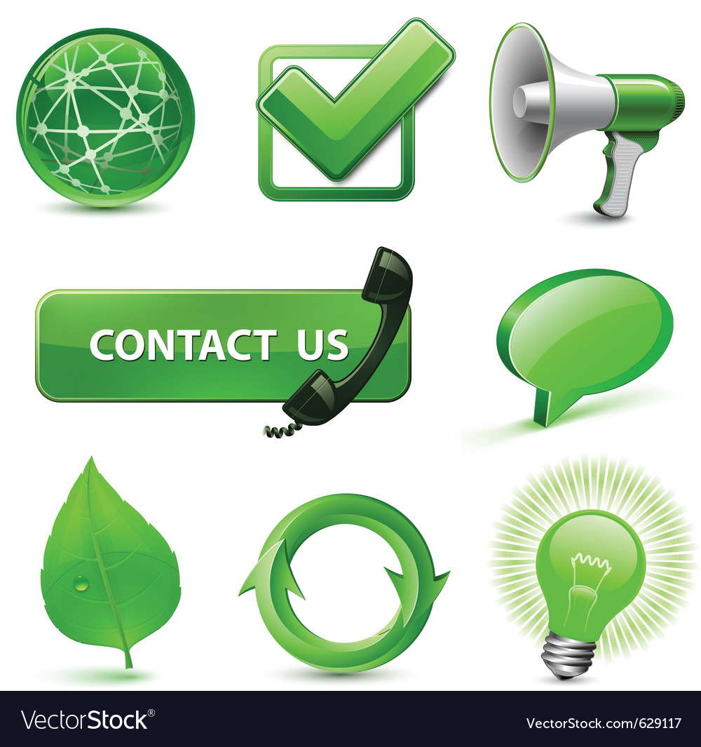 Green web icons vector | Price: 1 Credit (USD $1)