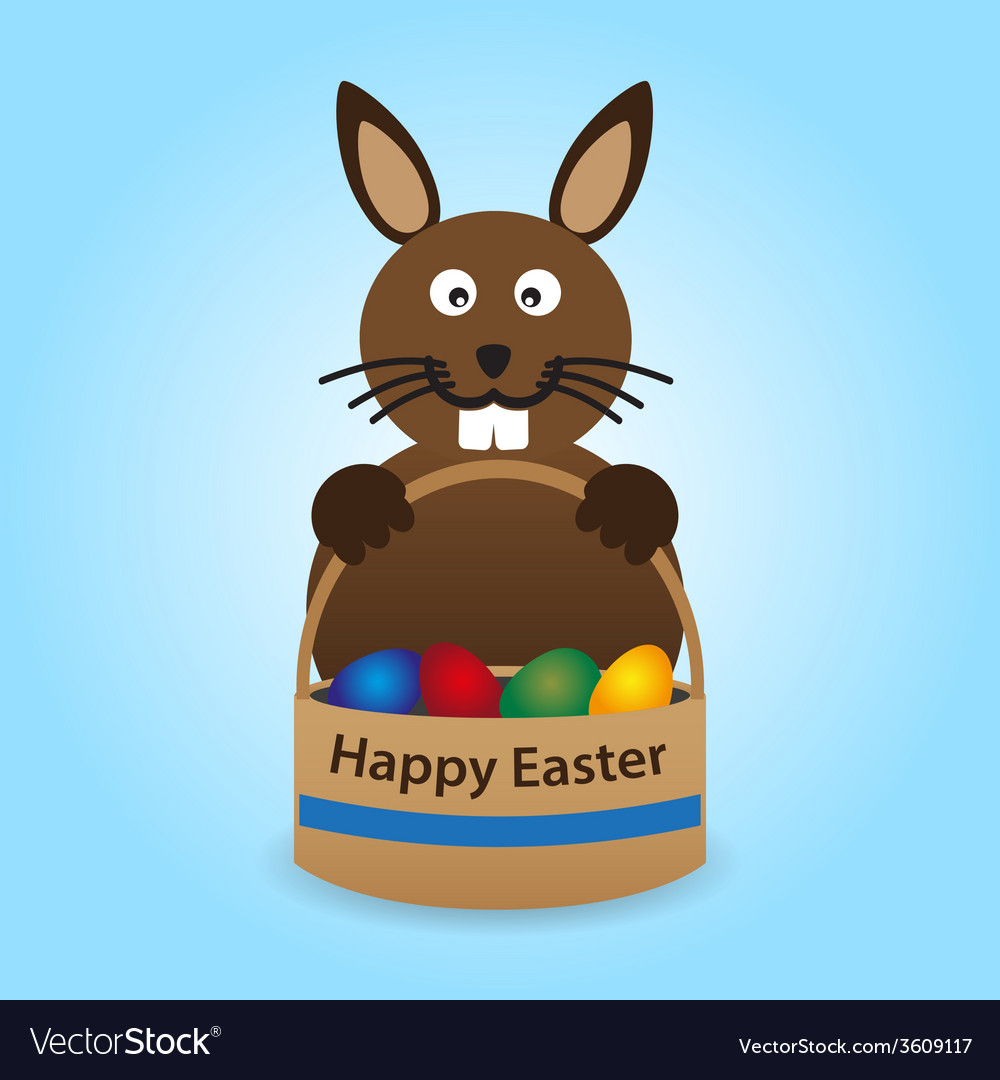 Happy easter rabbit with basket full of eggs eps10 vector | Price: 1 Credit (USD $1)
