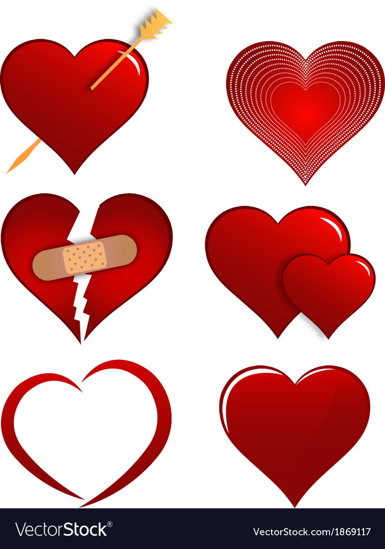 Heart designs set for valentines vector | Price: 1 Credit (USD $1)