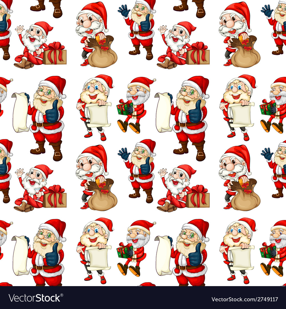 Seamless design with santa vector | Price: 1 Credit (USD $1)