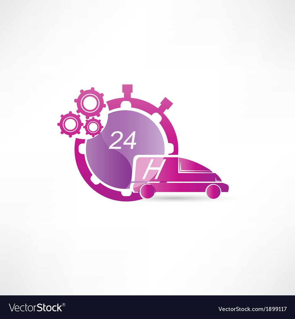 Transport service 24 hours icon vector | Price: 1 Credit (USD $1)