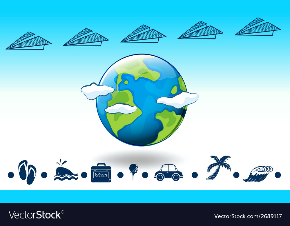 Travelling around the globe vector | Price: 1 Credit (USD $1)