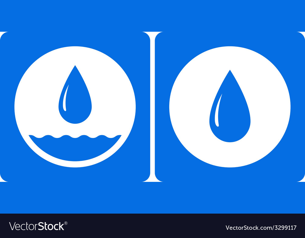 Two water droplet icon vector | Price: 1 Credit (USD $1)