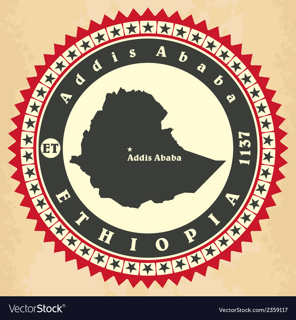Vintage label-sticker cards of ethiopia vector | Price: 1 Credit (USD $1)