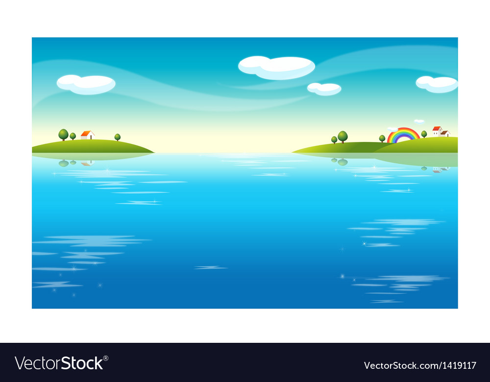 Water landscape houses vector | Price: 1 Credit (USD $1)