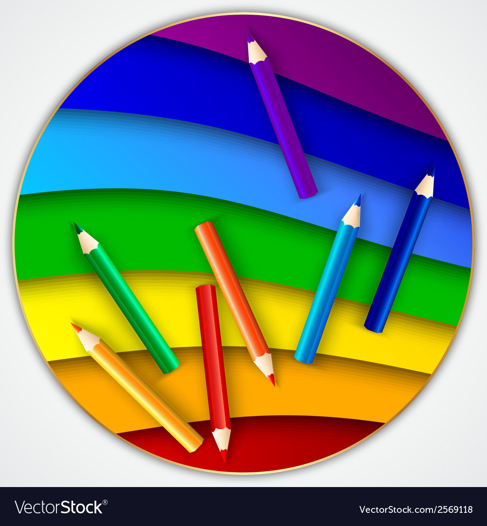 Abstract round rainbow circle with color pencils vector   Price: 1 Credit (USD $1)