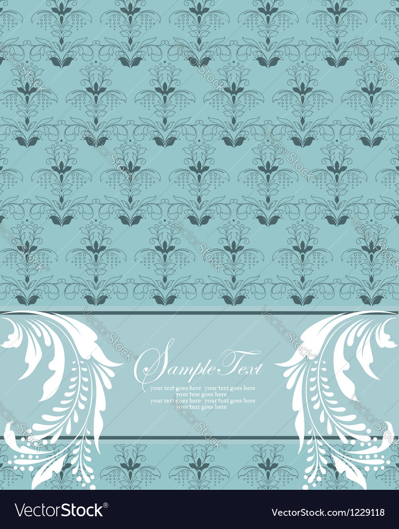 Blue floral card vector | Price: 1 Credit (USD $1)