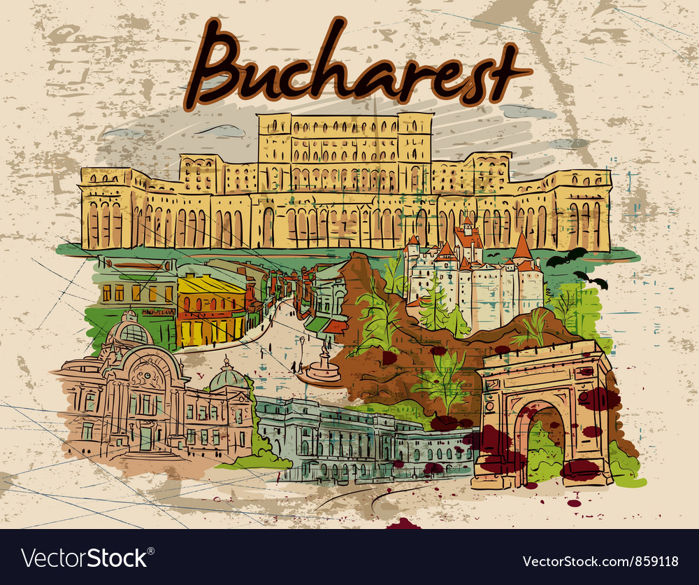 Bucharest doodles with grunge vector | Price: 3 Credit (USD $3)