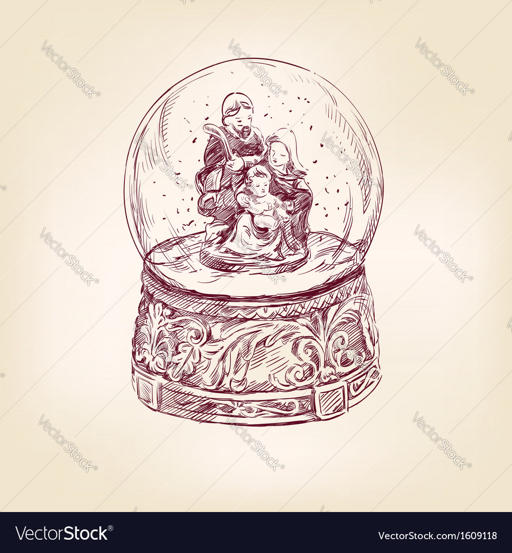 Christmas snow globe hand drawn vector | Price: 1 Credit (USD $1)