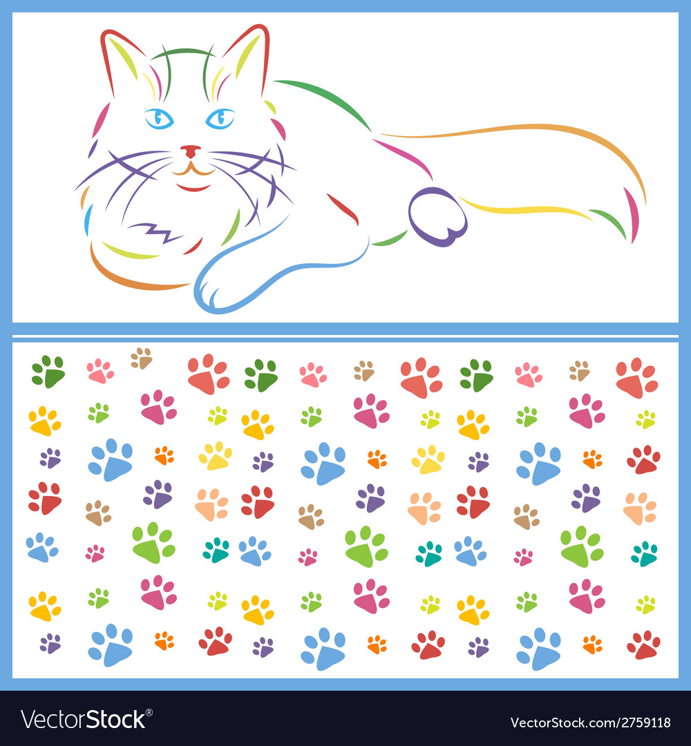 Color sketch of a cat and paws vector | Price: 1 Credit (USD $1)
