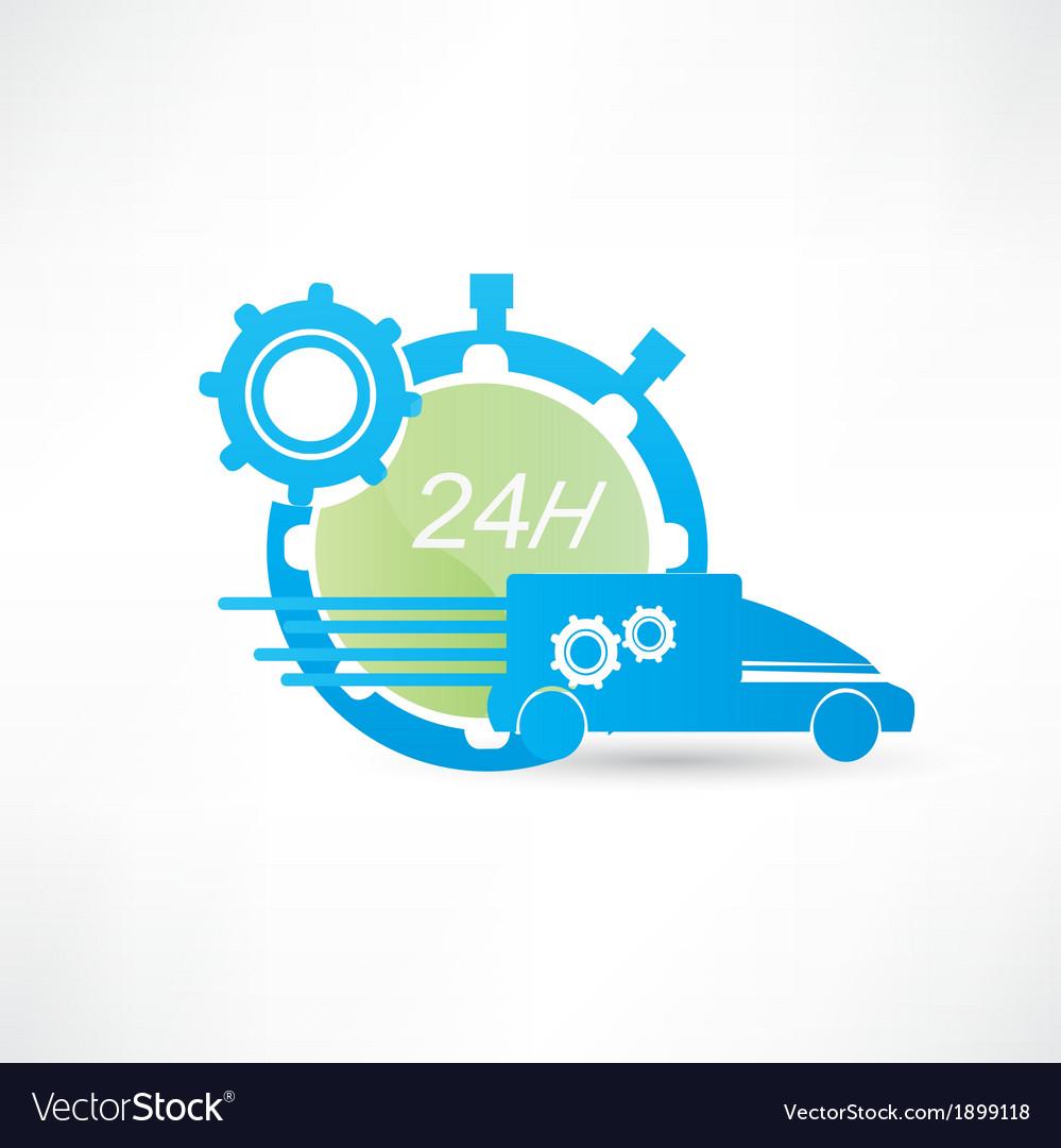 Delivery truck around the clock icon vector   Price: 1 Credit (USD $1)