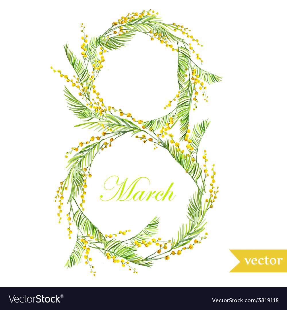 March 8 spring flowers card symbol mimosa vector | Price: 1 Credit (USD $1)