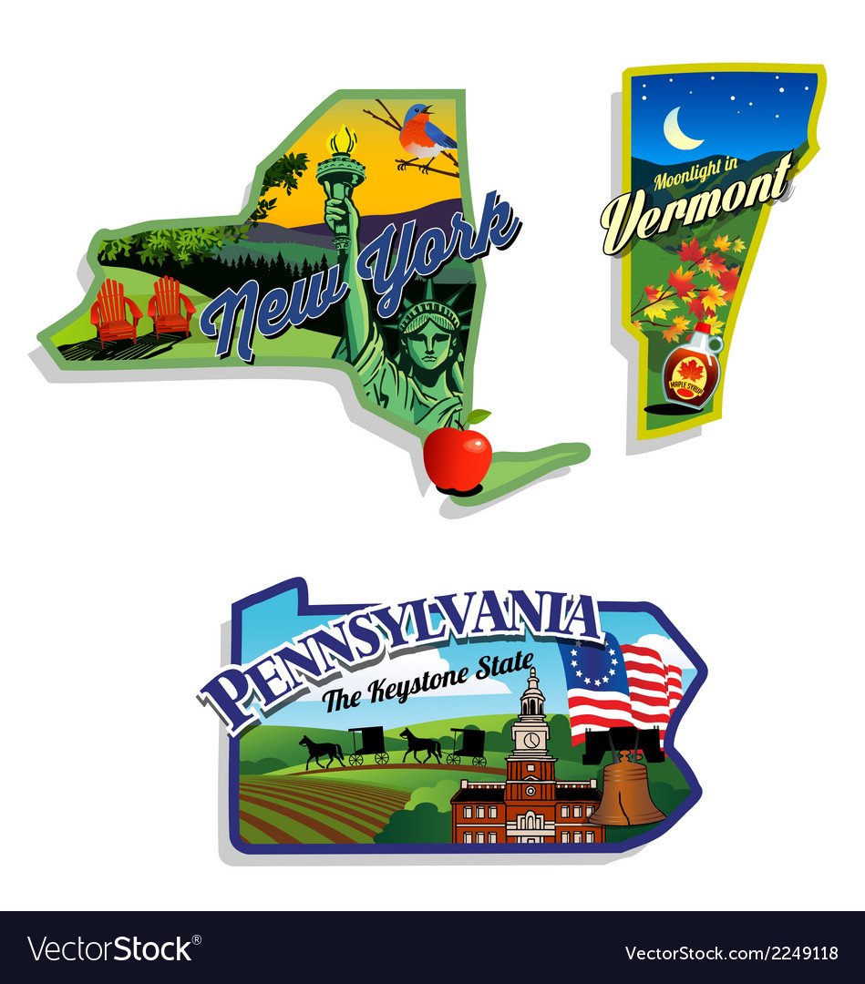 New york vermont pennsylvania scenic vector | Price: 3 Credit (USD $3)