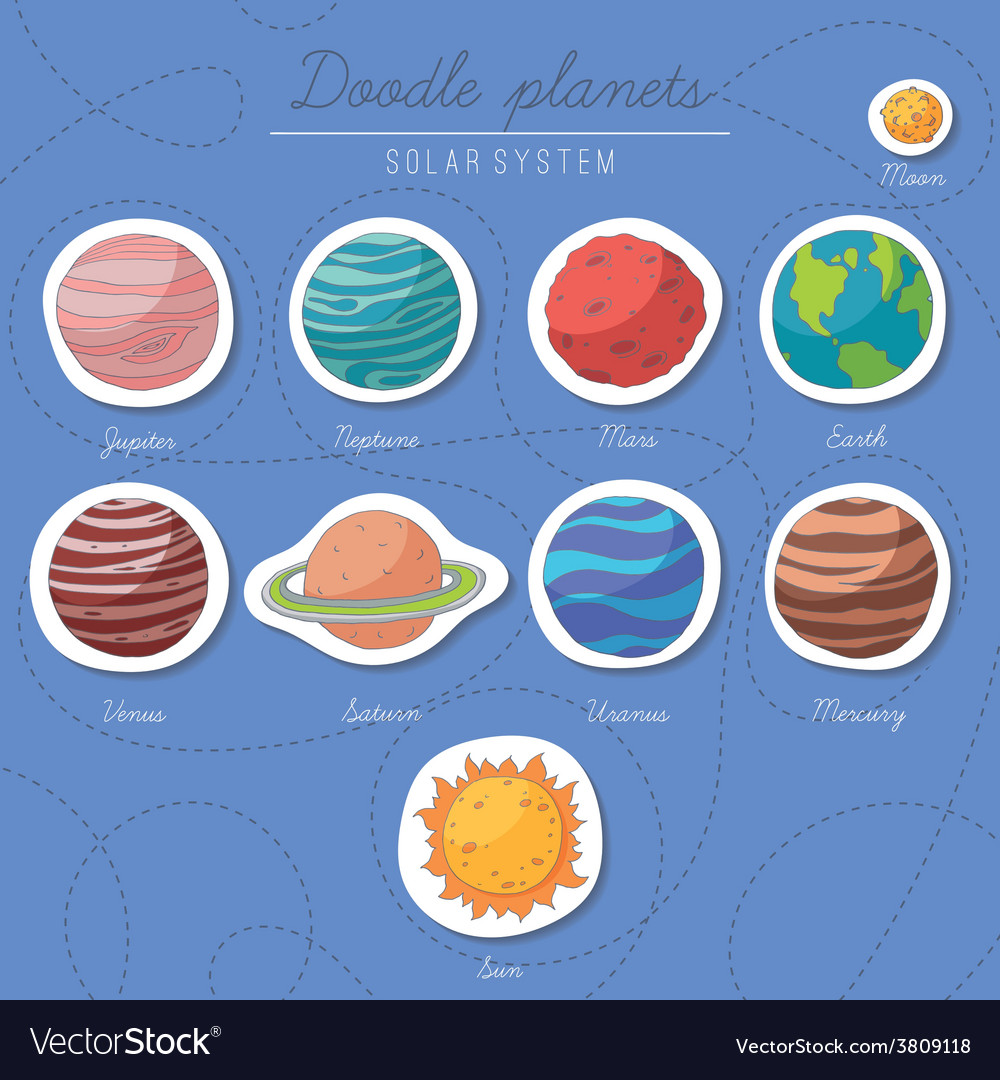 Set of doodle planet stickers vector | Price: 1 Credit (USD $1)