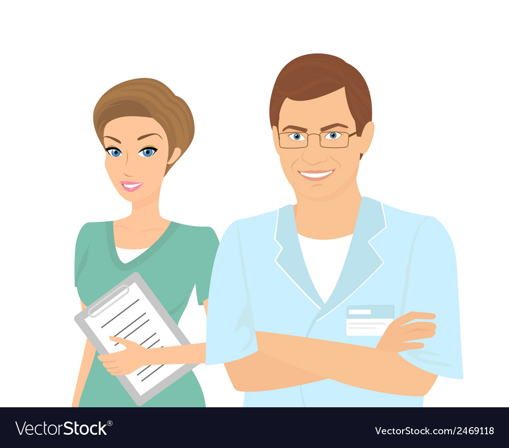 Smiling female and male dentists isolated on white vector | Price: 1 Credit (USD $1)
