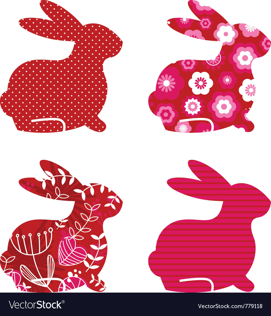 Spring bunny set vector | Price: 1 Credit (USD $1)