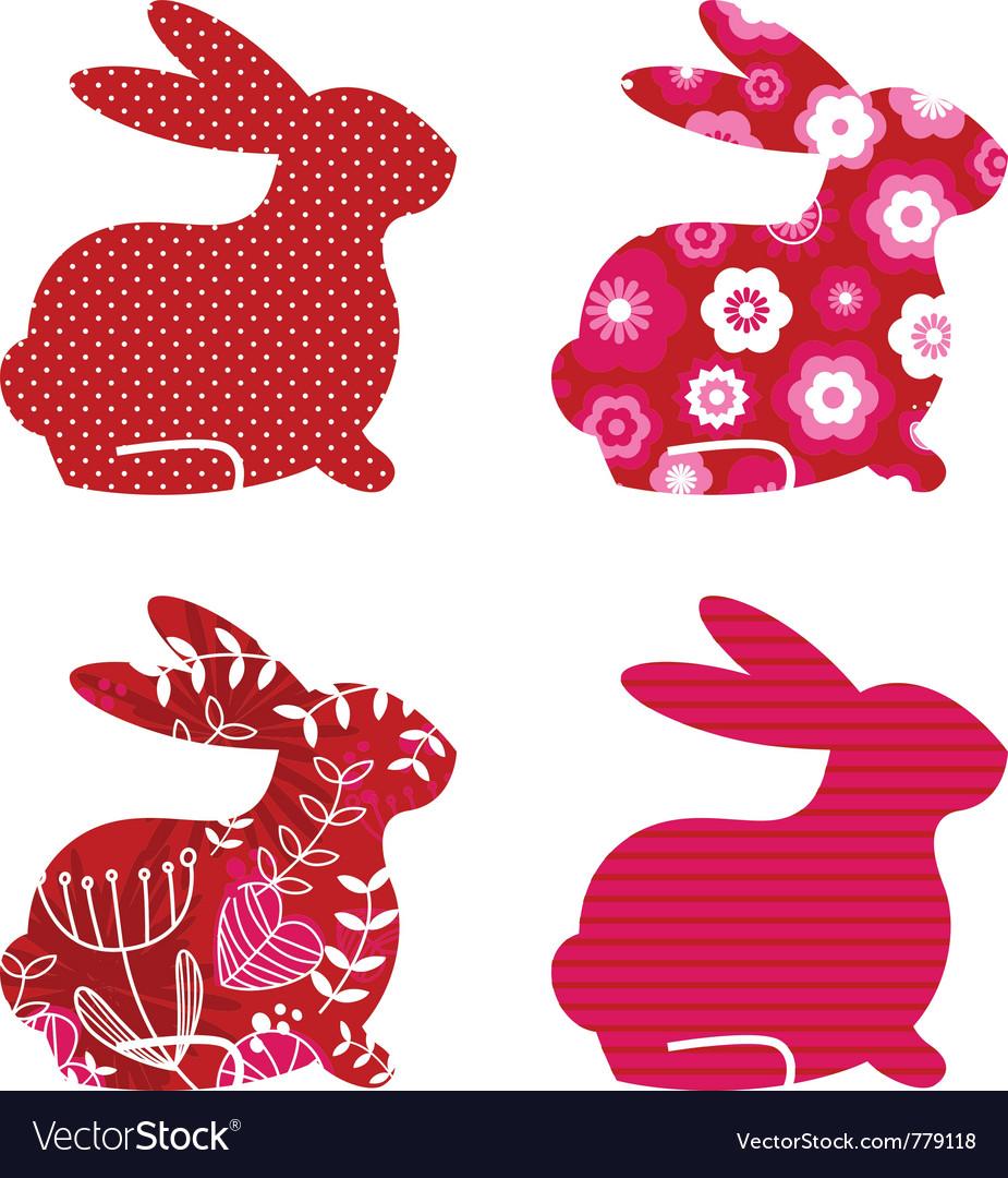 Spring bunny set vector | Price: 1 Credit (USD $1)