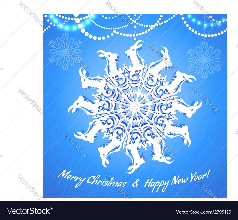 Background with snowflake with goat symbol of 2015 vector | Price: 1 Credit (USD $1)