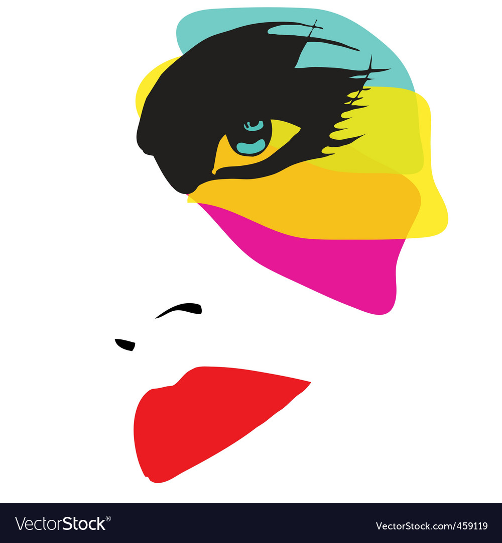 Beautiful woman with eccentric makeup vector | Price: 1 Credit (USD $1)