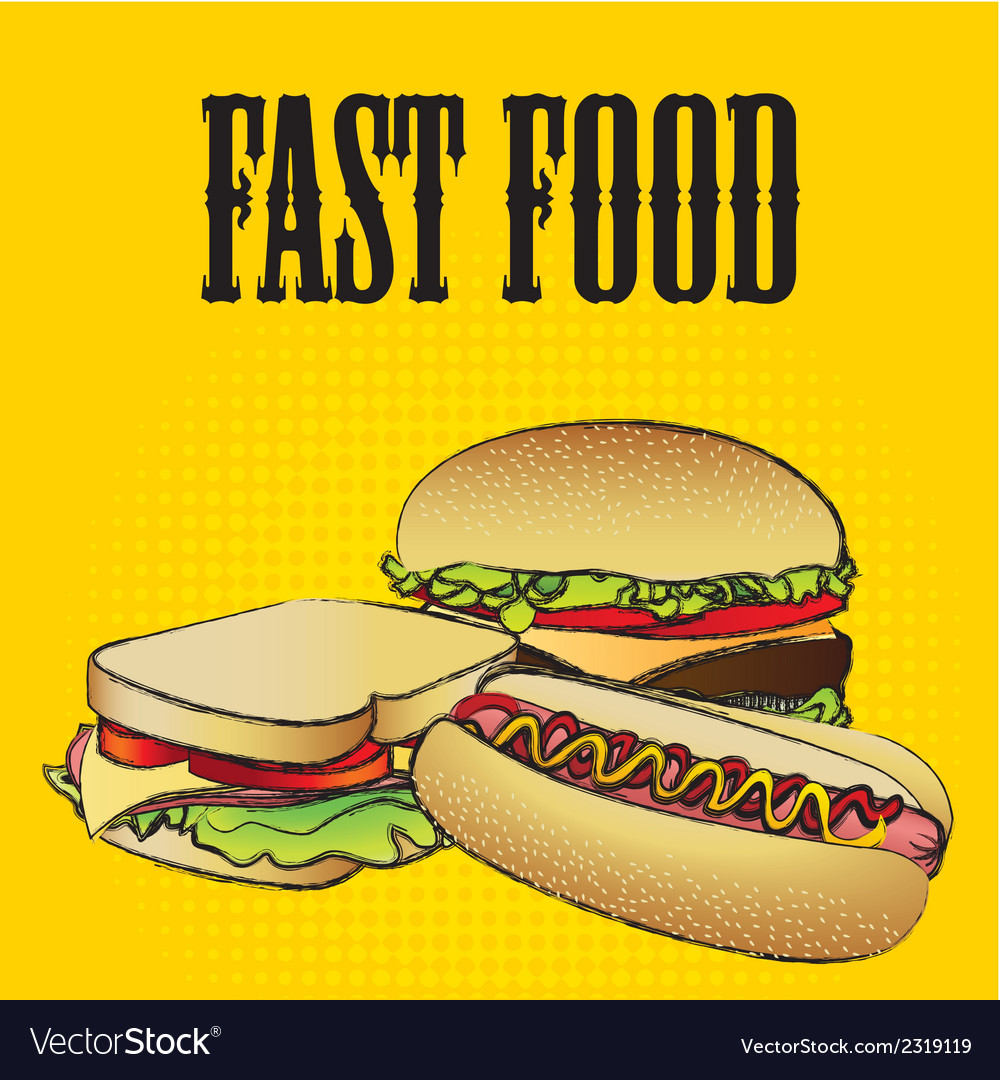 Fast food combo with a hamburger a hot dog and a s vector | Price: 1 Credit (USD $1)